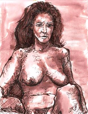 Francis - Print of Pen and Ink Artistic Nude, 7in x 9in