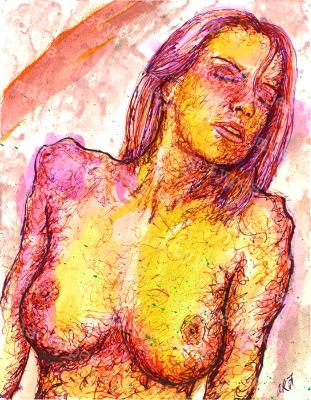 Prudence - Print of Pen and Ink Artistic Nude, 7in x 9in
