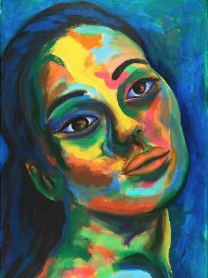 Rainbow Goddess 17-014 - acrylic painting on canvas, 24in x 36in