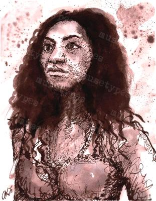 Inez - Print of Pen and Ink Artistic Portrait, 7in x 9in