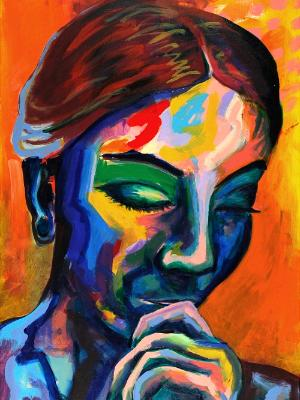 Rainbow Goddess 17-005 - acrylic painting on canvas, 24in x 36in