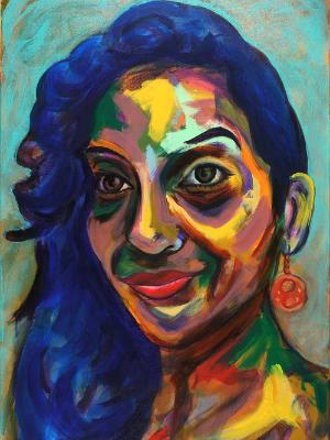 Rainbow Goddess 17-015 - acrylic painting on canvas, 24in x 36in