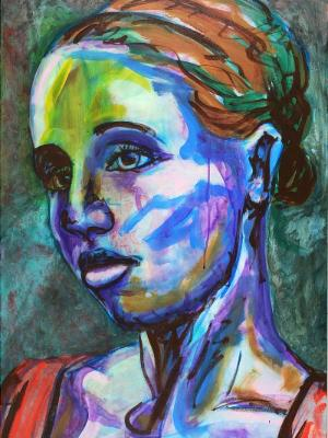 Rainbow Goddess 16-009 - acrylic painting on canvas, 24in x 36in