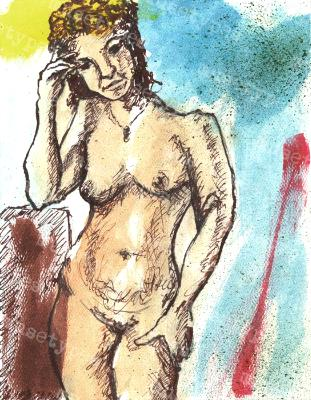 Annabel - Print of Pen and Ink Artistic Nude, 7in x 9in
