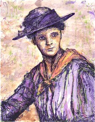 Violet - Print of Pen and Ink Victorian Portrait, 7in x 9in