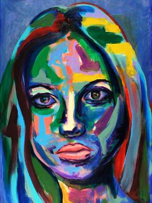 Rainbow Goddess 17-006 - acrylic painting on canvas, 24in x 36in