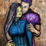 Galactic Couple 19-006 - acrylic painting on canvas, 24in x 36in