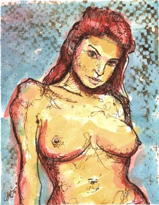 Stella - Print of Pen and Ink Artistic Nude, 7in x 9in