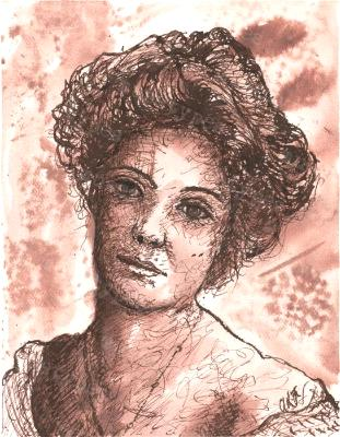 Augusta - Print of Pen and Ink Victorian Portrait, 7in x 9in