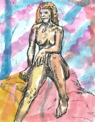 Audie - Print of Pen and Ink Artistic Nude, 7in x 9in