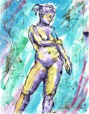 Adele - Print of Pen and Ink Artistic Nude, 7in x 9in