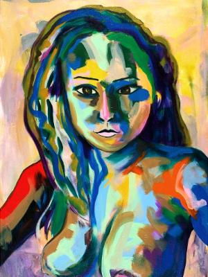 Rainbow Goddess 15-006 - acrylic painting on canvas, 24in x 36in