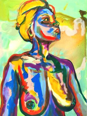 Rainbow Goddess 15-016 - acrylic painting on canvas, 24in x 36in