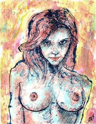Zoe - Print of Pen and Ink Artistic Nude, 7in x 9in