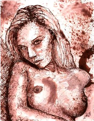 Aurelia - Print of Pen and Ink Artistic Nude, 7in x 9in