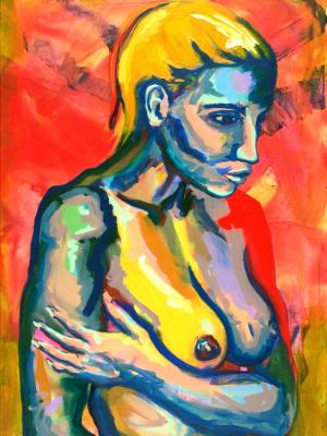 Rainbow Goddess 15-012 - acrylic painting on canvas, 24in x 36in