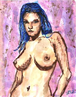 Roxie - Print of Pen and Ink Artistic Nude, 7in x 9in